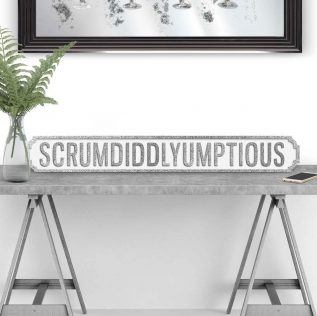 Scrumdiddlyumptious - Large Vintage Street Sign in White and Silver Glitter