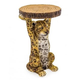 Leopard Side Table Holding Trunk Slice