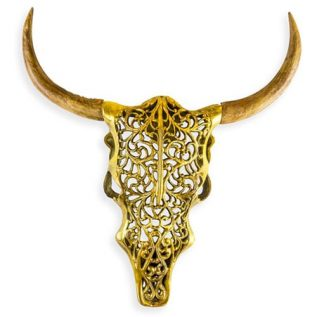 Antique Gold & Wood Tribal Bison Head
