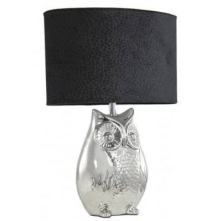 Silver Owl Table Lamp With Black Shade