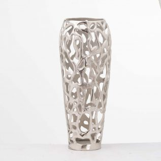 Silver Perforated Coral Inspired Vase