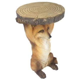 Fox Side Table Holding Trunk Slice