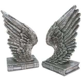 Silver Angel Wing Bookends