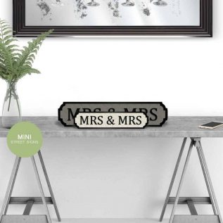 MRS & MRS - Vintage Street Sign in Black and White.