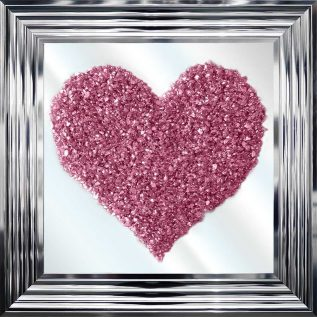 Pink Glitter Heart Cluster Mirror Picture