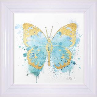 Gold And Teal Blue Butterfly Framed Picture