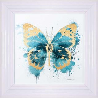 Gold And Indigo Blue Butterfly Framed Picture