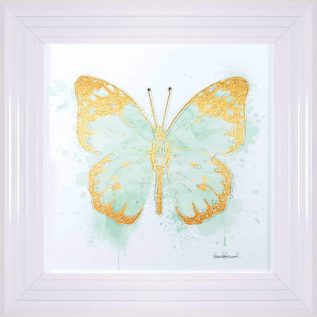 Gold And Mint Green Butterfly Framed Picture