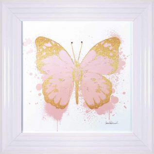Gold And Peach Butterfly Framed Picture