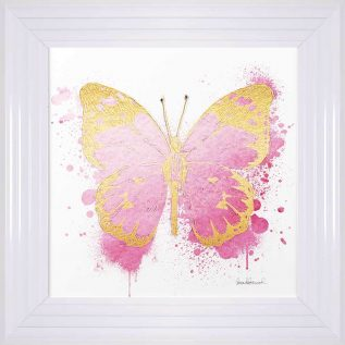 Gold And Pink Butterfly Framed Picture