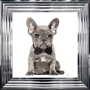 Grey Blue Frenchie Framed Picture