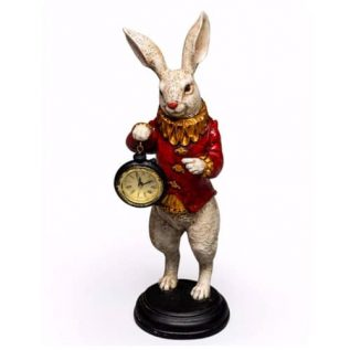 White Rabbit Clock Figure in Red and Gold