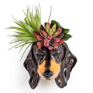 Dachshund Head Wall Sconce Vase