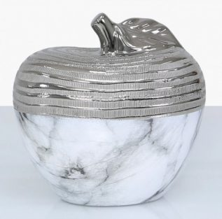 White Marble and Silver Large Apple Decoration
