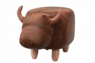 Cocoa the Brown Cow Footstool with Wooden Legs