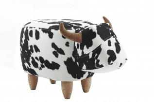 Lulu the Black and White Cow Footstool with Wooden Legs