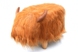 Dillis the ginger Highland Cow Footstool with Wooden Legs