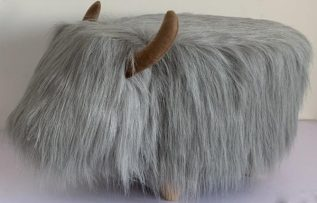 Georgette the Grey Highland Cow Footstool with Wooden Legs