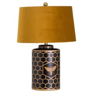 Harlow Bee Table Lamp With Mustard Shade.
