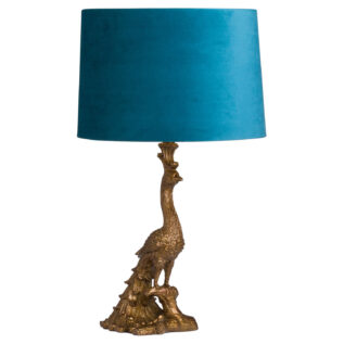 Peacock Lamp in Antique Gold with Teal Velvet Shade