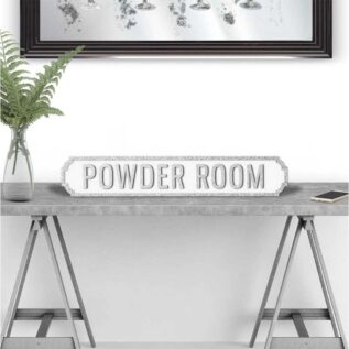 Powder Room - Vintage Street Sign in White and Silver Glitter.
