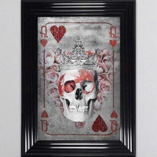 Queen of Hearts Playing Card Framed Wall Art