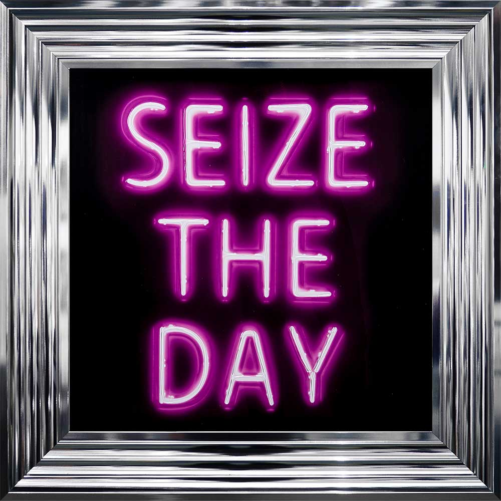 'Seize The Day' Pink Neon Framed Picture