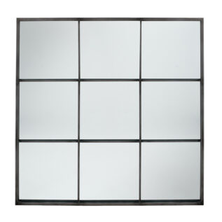 Dark Grey Metal 9 Section Square Wall Mirror