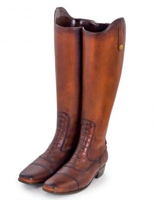 Pair of Leather Boots Umbrella Stand and Vase