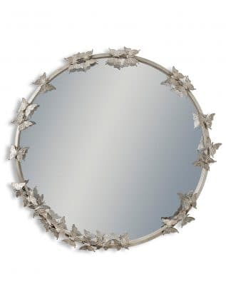 Antique Silver Round Butterfly Framed Wall Mirror