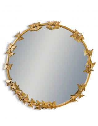Antique Gold Round Butterfly Framed Wall Mirror