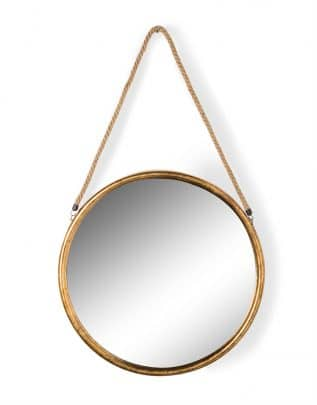 Large Round Gold Metal Mirror on Hanging Rope