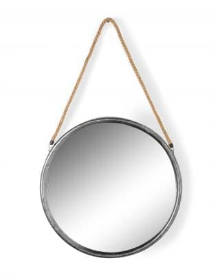 Large Round Silver Metal Mirror on Hanging Rope