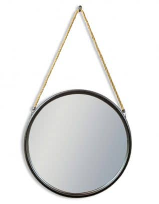 Large Round Black Metal Mirror on Hanging Rope