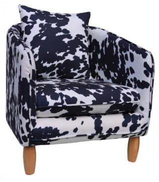 Black and White Cow Print Barrel Chair