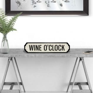 WINE O'CLOCK-Vintage Street Sign in White and Black
