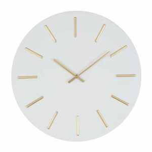White and Gold Detail Round Metal Wall Clock