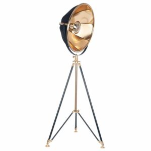 Tripod Floor Lamp in Black and Gold Metal