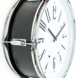 Drum Style Metal Silver And Black Wall Clock 17″