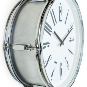 Drum Style Metal Silver Wall Clock 17″