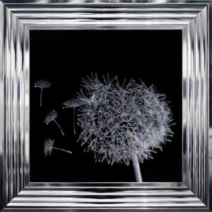 3D Dandelion Blowing Left In The Wind Framed Picture