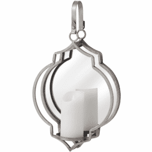 Quarterfoil Design Mirrored Candle Silver Wall Hanging