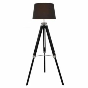 Black Hollywood Floor Lamp With Charcoal Shade