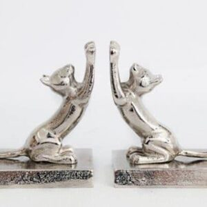 Chrome Stretching Cat Bookends