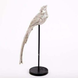 Silver Bird On A Wooden Base Decoration