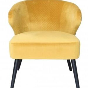 Yellow Wingback Quilted Velvet Easy Chair