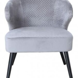 Grey Wingback Quilted Velvet Easy Chair
