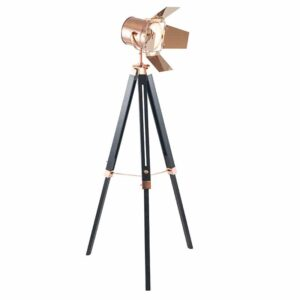 Copper and Black Tripod Floor Lamp