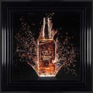 Splashing Whiskey Bottle Framed Wall Art