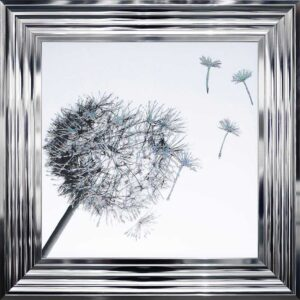 White And 3D Glitter Dandelion Blowing In the Wind Framed Picture.